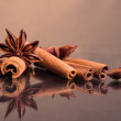 Star anise and cinnamon beer ingredients - Stock Photo