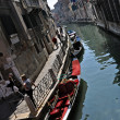 Rio water channel and gondole Venezia — Stock Photo