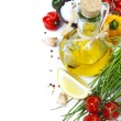Olive oil and ingredients — Stock Photo