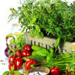 Herbs in the box and fresh vegetables — Lizenzfreies Foto