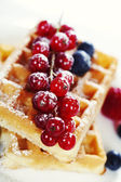 Waffles with fresh berries — Stock Photo