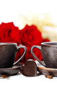 Red roses and coffee for Valentine's Day — 图库照片