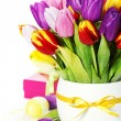 Spring tulips with easter eggs — Stock Photo #8731040