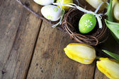 Easter eggs with yellow tulip flowers — Stock Photo