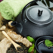Asian tea set and spa settings — Stock Photo