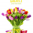 Spring tulips with easter eggs — 图库照片