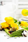Spring table settings — Stock Photo