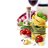 Italian Pasta and wine — Stock Photo