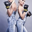 Stock Photo: Two sexy female boxer
