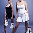 Two sexy female boxer — Stock Photo