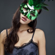 Close-up portrait of sexy woman in party mask. — Stock Photo #8975850