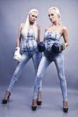 Dos sexy boxeadora — Foto de Stock