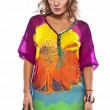 Portrait of a beautiful casual woman in colorful dress - Stok fotoğraf