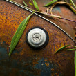 Close-up of an old grunge styled truck fuel cap - Stock Photo