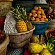 Open air fruit market in the village - Stock Photo