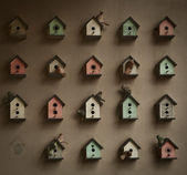 Small houses on the wall — Stock Photo