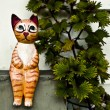 Wooden cat statue — Stock Photo