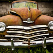 Stock Photo: Grunge and hight rusty elements of old luxury car.