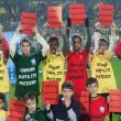 Stock Photo: Against racism and violence in Aris stadium