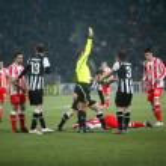 Kostas Stafilidis received a yellow card — Stock Photo #8929910