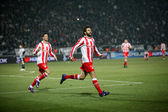 Celebration the first goal of Olympiakos with Djamel Abdoun — Stock Photo
