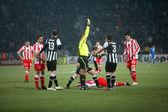 Kostas Stafilidis received a yellow card — Stock Photo