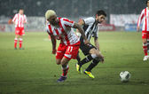 Football match between Paok and Olympiakos (0-2) — Stock Photo