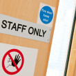 Staff only signs at laboratory — Stock Photo