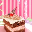 Cherry chocolate birthday cake — Stock Photo