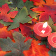 Candles and leaves — Stock Photo