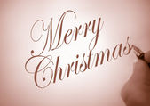 Callligraphy merry christmas — Stock Photo