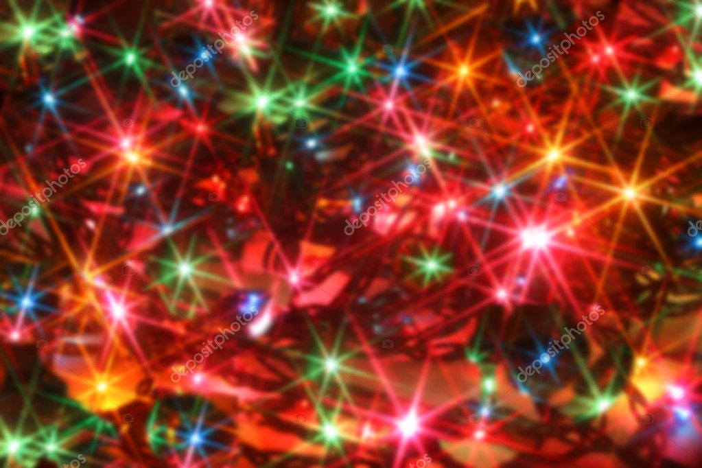 Colorful twinkling christmas lights blurred background  Stock Photo #7974443