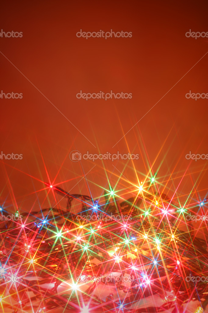 Colorful twinkling christmas lights background with copyspace  Stock Photo #7974447