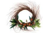 Twig and orange berry wreath — Stock Photo