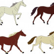 Stock Vector: Four Horses