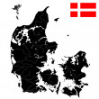 Flag and map of Denmark - Imagen vectorial