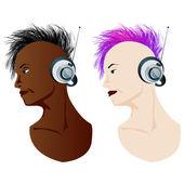 The music listener — Stock Vector