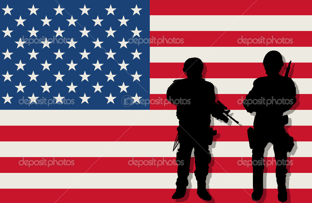 Armed soldiers silhouettes over american flag background — Stock Vector #8424128