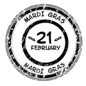 Mardi Gras grunge stamp in black and white — Stock Vector