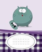 Text-karte mit fat cat — Stockvektor