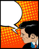 Speech bubble pop art man — Vector de stock
