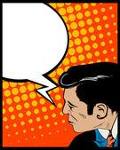 Toespraak bubble pop-art man — Stockvector