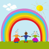 Kids on rainbow background — Stock Vector
