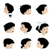 Children faces, expressions — Stock Vector