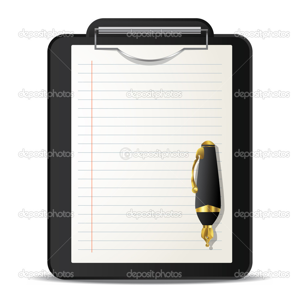 Clipboard and ink pen over white background — Stock Vector #9011015