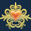 Heart with floral ornament — Stock Photo