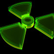 Sign - radioactive danger with fluorescence — Stock Photo
