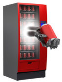 Vending machine with cyborg hand and beverage in can — Stock Photo