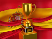 Spain flag with gold cup — Stock Photo