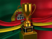 Portuguese Republic flag with gold cup — Stock Photo